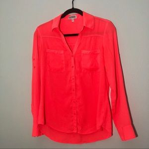 EXPRESS BUTTON DOWN LONG SLEEVE BLOUSE NEON PINK